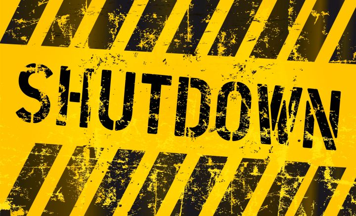 22728935 - shutdown sign, grungy style, vector illustration